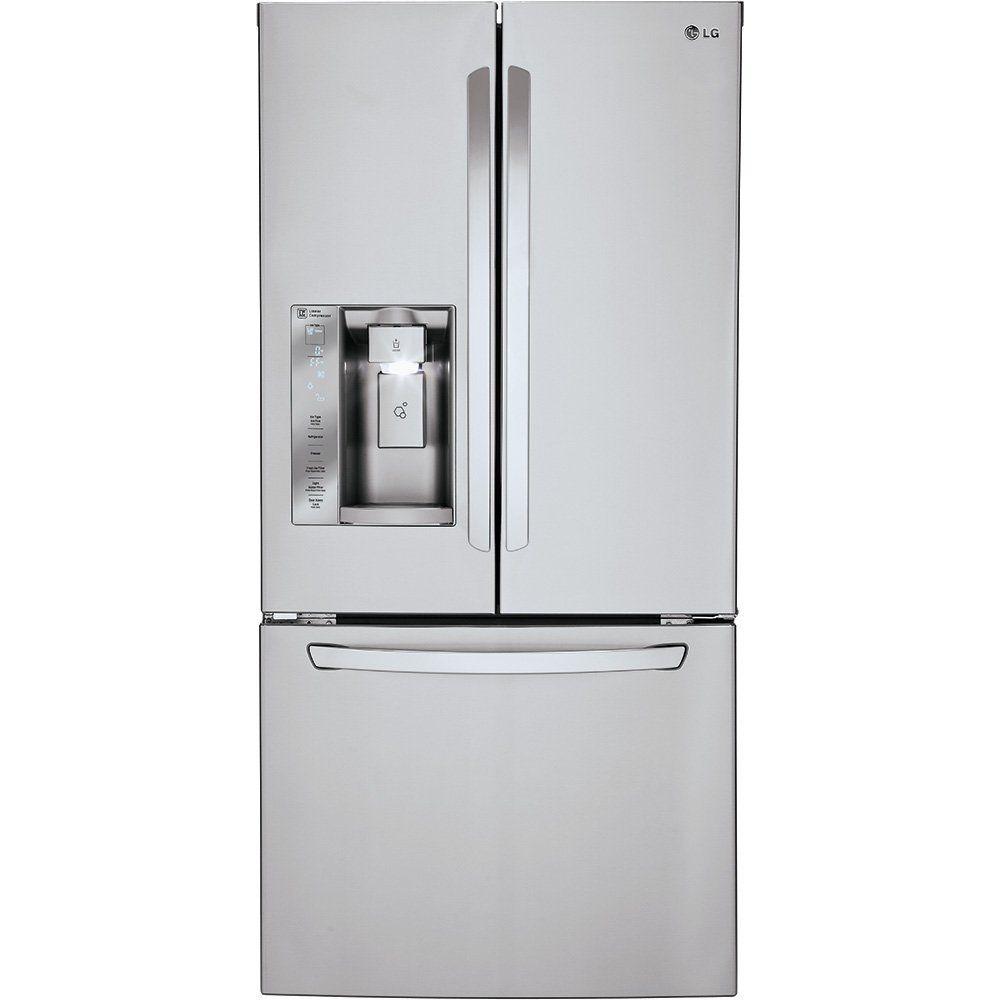 Lg Lfxs24623s 24 2 Cu Ft Ultra Capacity French Door Refrigerato Stainless Steel French Door Refrigerator French Door Refrigerator Stainless Steel Refrigerator