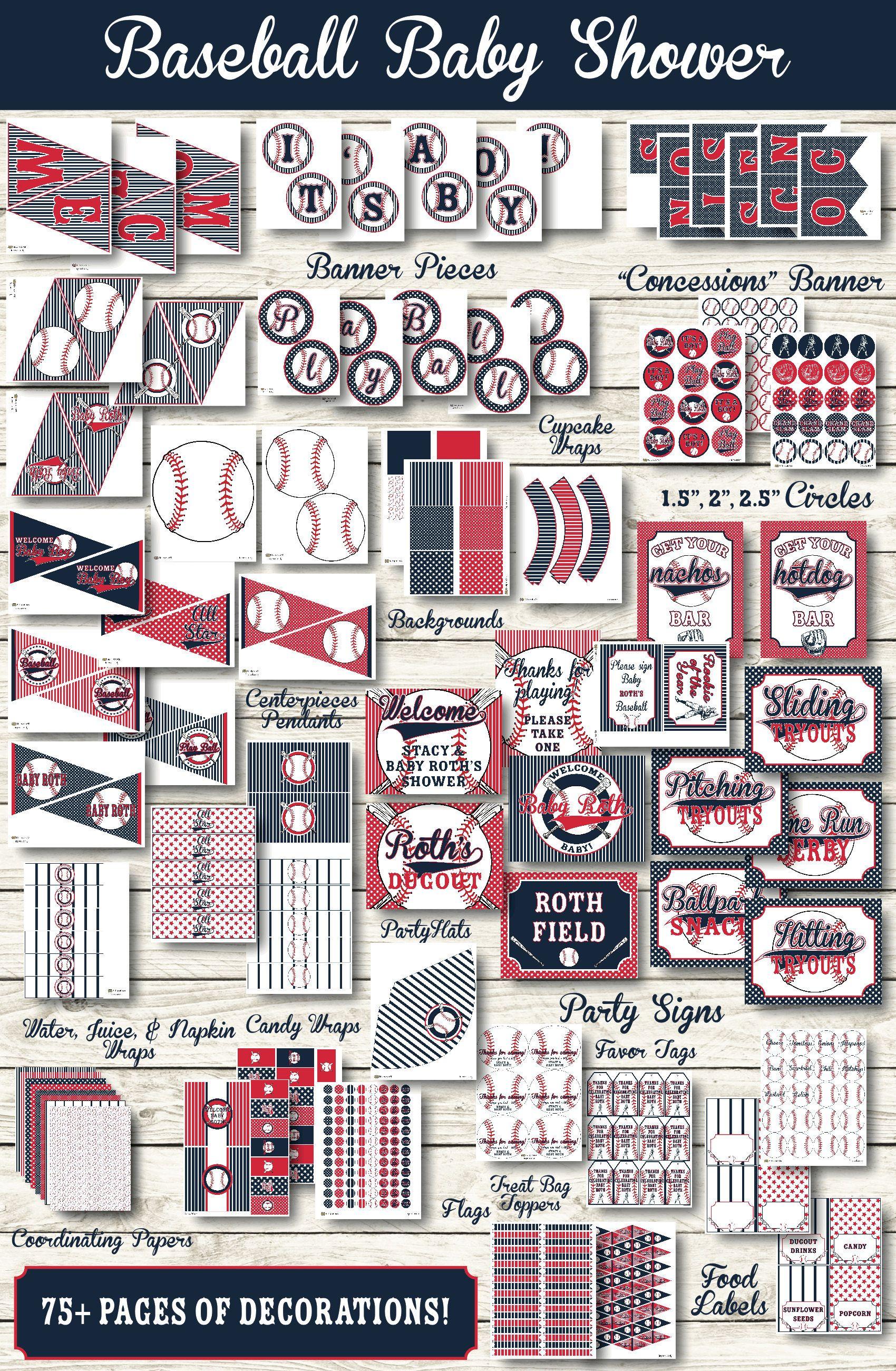 Baseball Shower Decorations   Baseball Party Decorations   Printable  Baseball Party   Baseball Party Decor