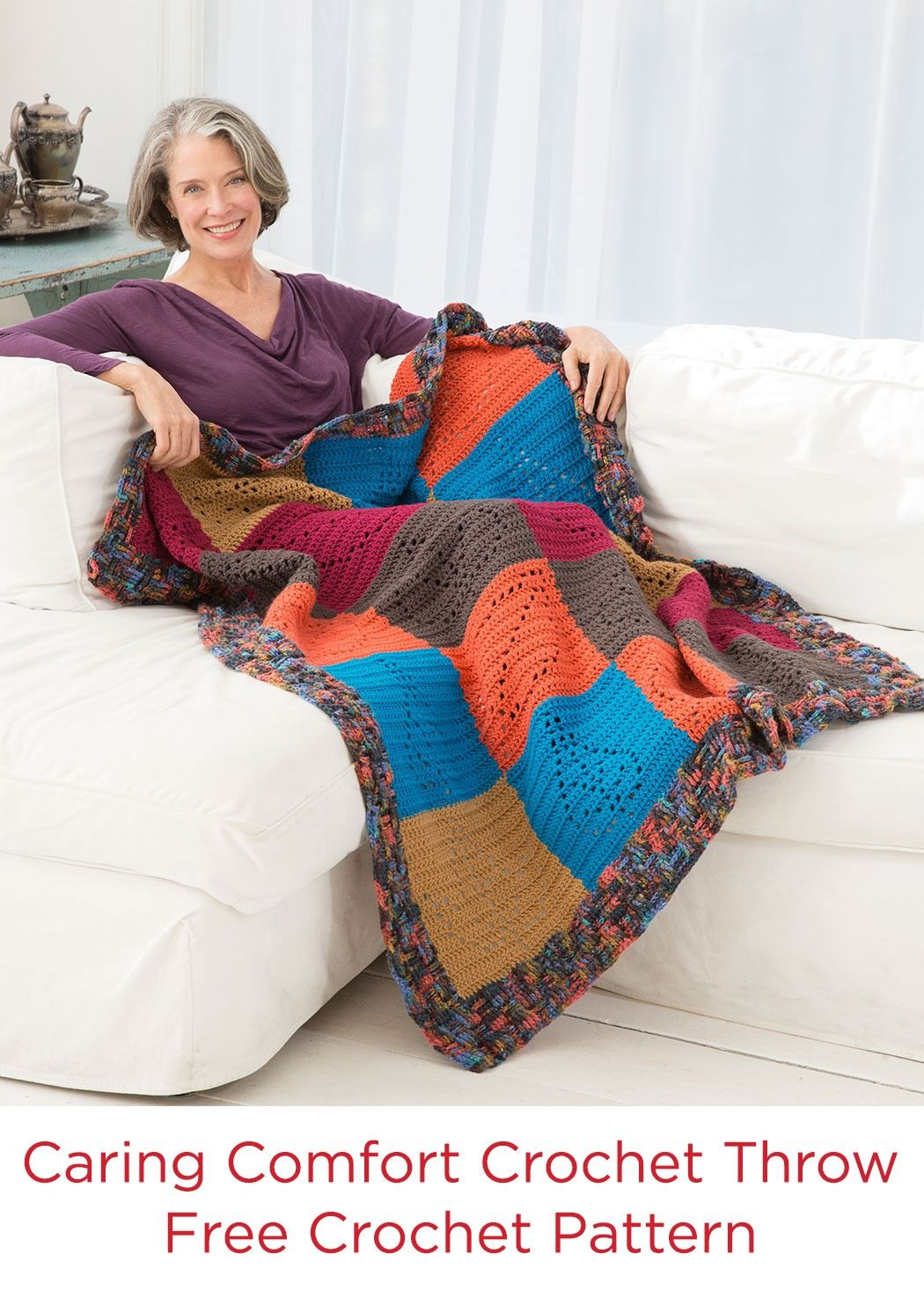 Caring Comfort Crochet Throw Free Crochet Pattern in Red Heart Super ...