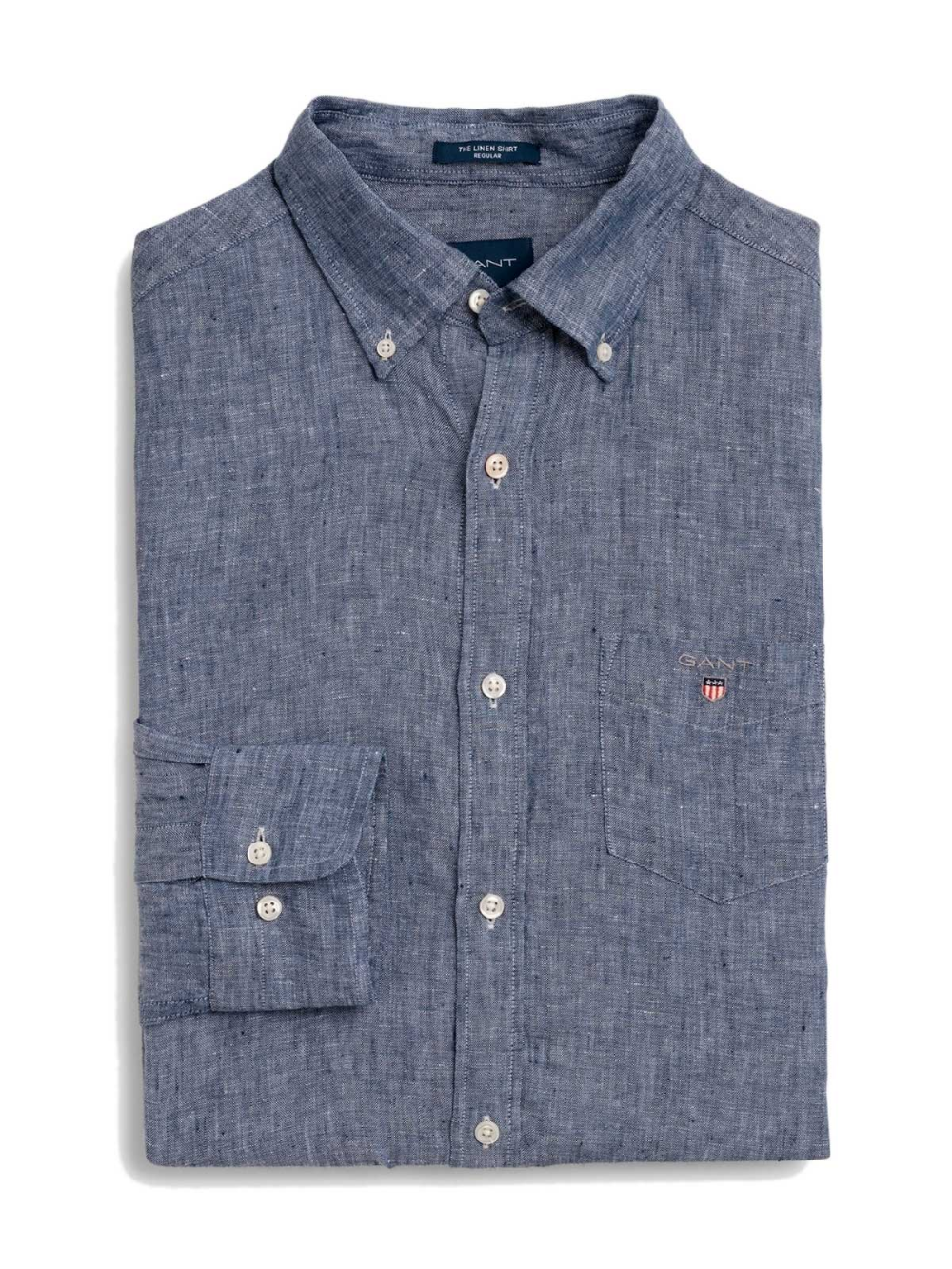 Our Indigo Ed Shirt In 100 Cotton Features A Slim Fit On Down Collar Contrasting Neck Tape An Allover Subtle Pattern Single Chest