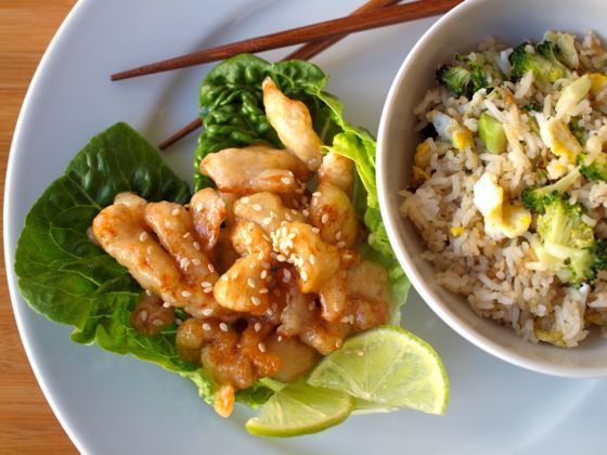 Lemon Chicken Cantonese Style - Served with Veggie fried Rice
