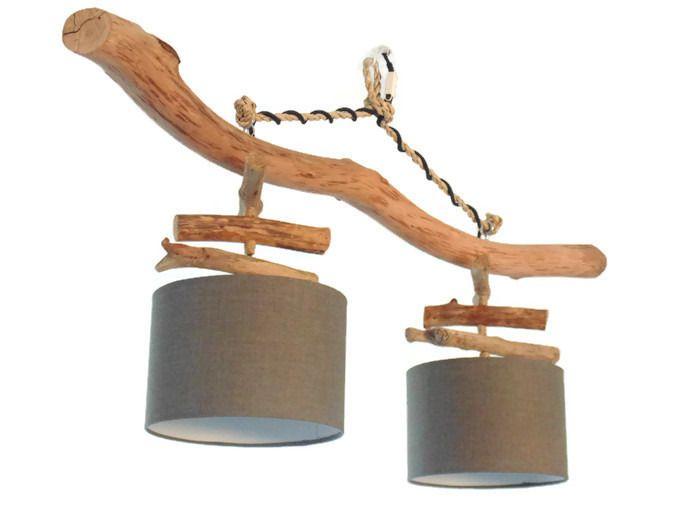 lustre plafonnier en bois flott gris 25 cm cr ation. Black Bedroom Furniture Sets. Home Design Ideas