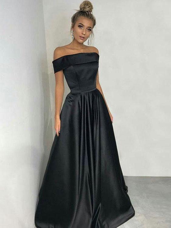 27472fdcf9 A-Line Off-the-Shoulder Sleeveless Floor-Length Black Satin Prom ...