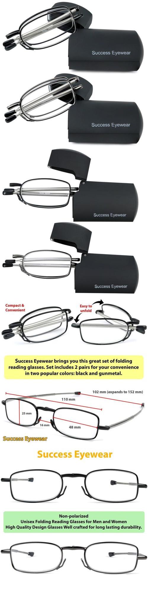 2e5cd37c25b Reading Glasses  Reading Glasses 2 Pair Black And Gunmetal Readers Compact  Folding Unisex For.