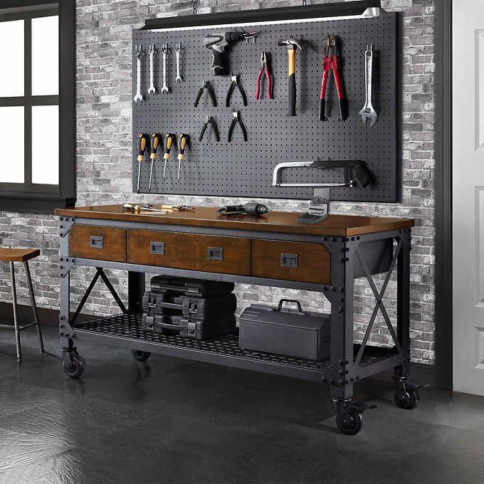 Rolling Workbench Tool Storage Garage Work 3 Drawers Wood Steel