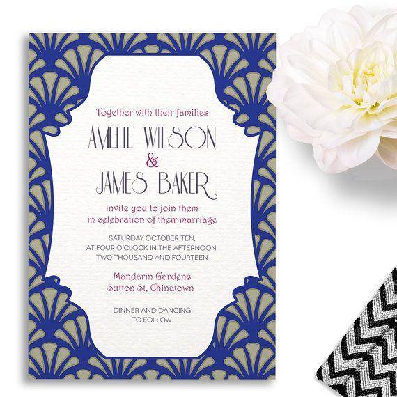 art deco japanese wedding invitation