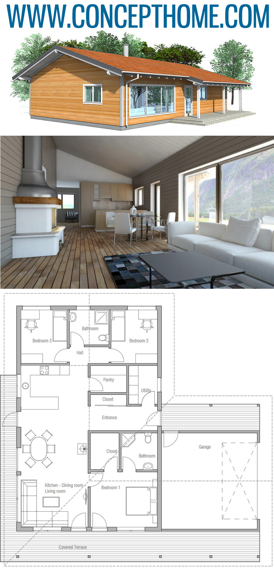 Small House Plan Ch32 Small House Design House Layouts Small House Plans
