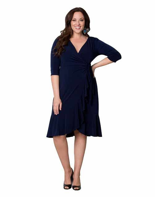 Plus Size Navy Blue Cocktail Dresses Under 100 Dollars With Sleeves