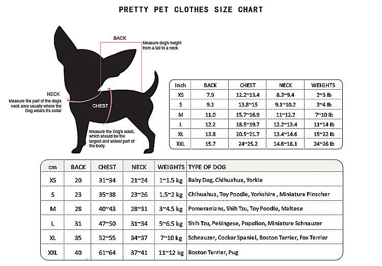 Pretty Pet Clothes Size Chart Pretty Pet Harness Size Chart Pet