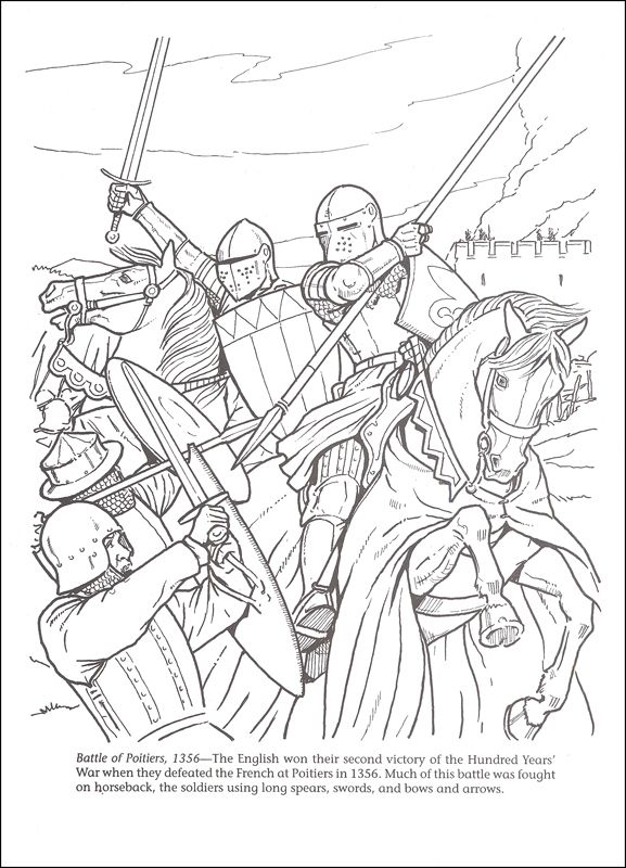 Horses in battle coloring book