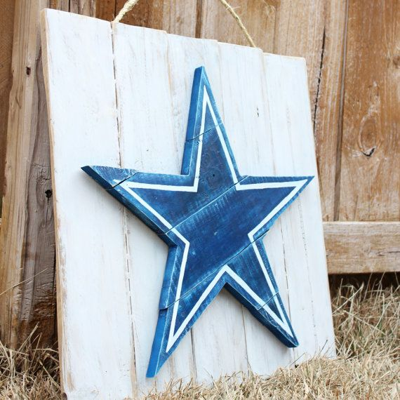 Dallas Cowboys Painted Wood Pallet Art Sign Wall Decor With Football Star
