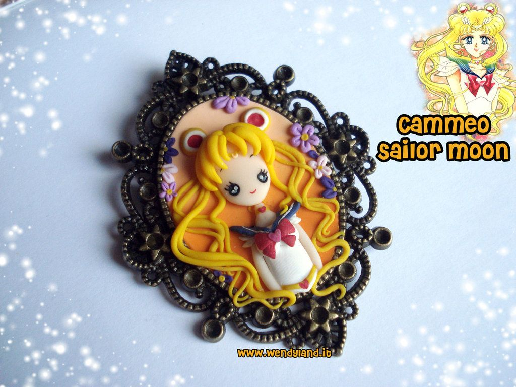 Sailor Moon Fimo | Sailor Moon cameo, made whit clay (Fimo). Background handmade by clay ...