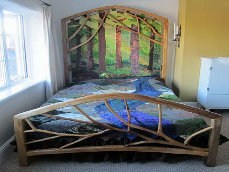 Minimalist Tree Branch Bed Frame Design