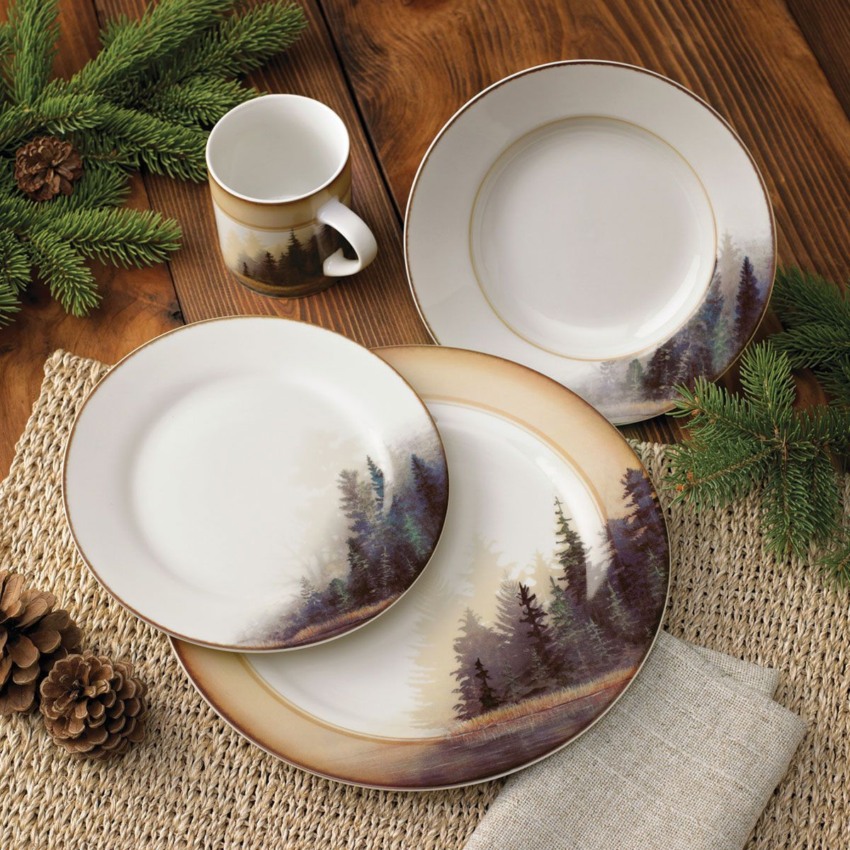 Rustic Wildlife Dinnerware Sets With Moose Amp Bear Designs