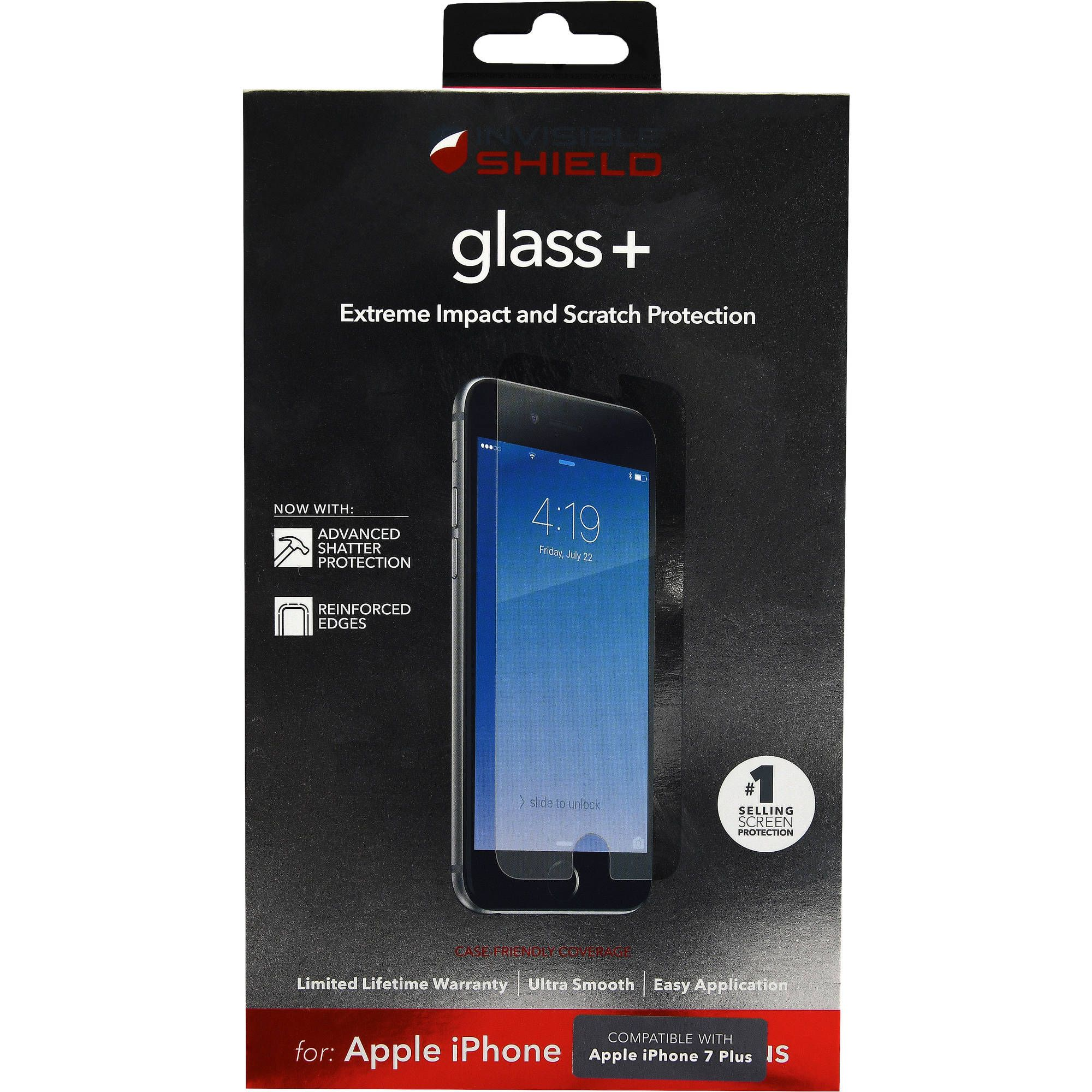 sale retailer 34b7b 11566 ZAGG InvisibleShield Glass+ for Apple iPhone 7 Plus - Walmart.com ...