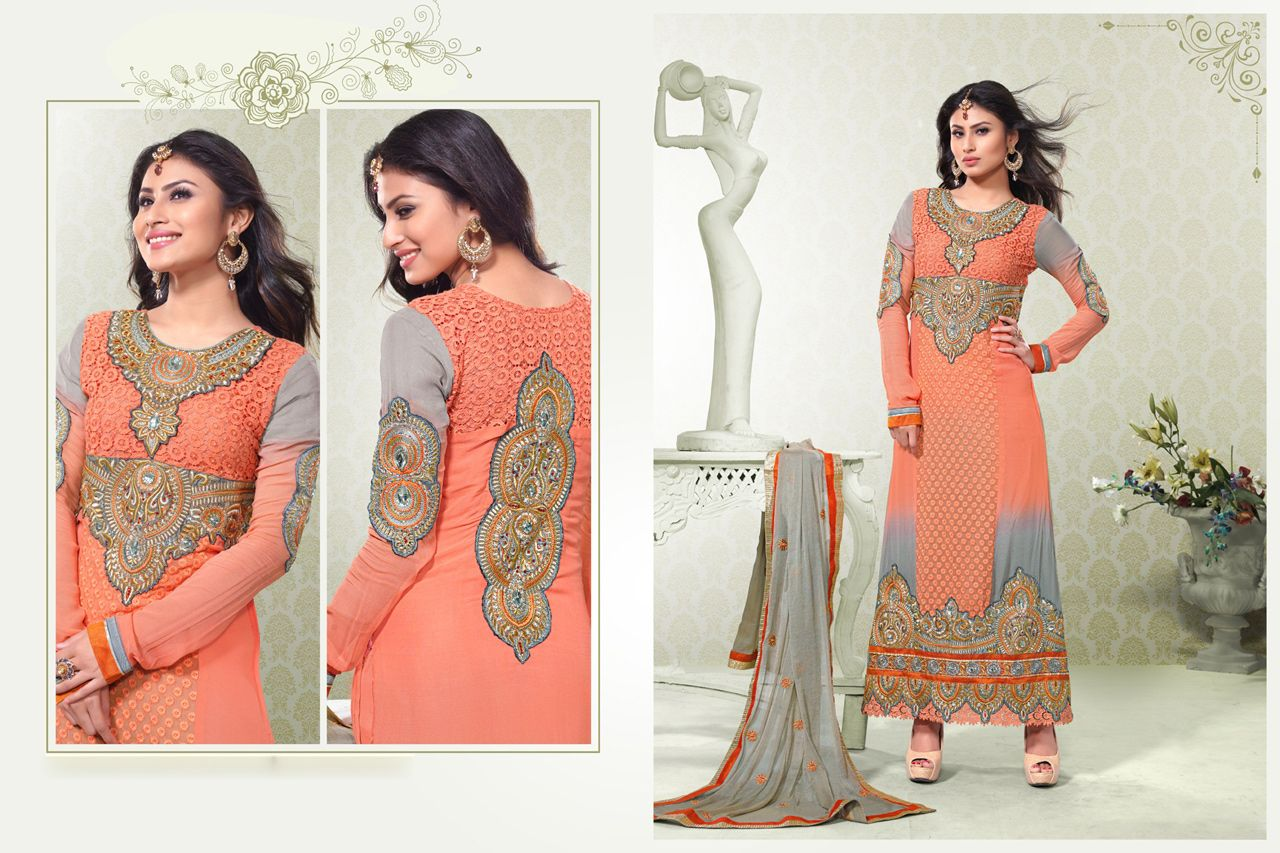 Usd mouni roy orange karachi work ankle length suit