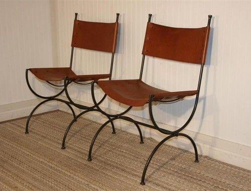 Admirable Pair Charleston Forge Legacy Wrought Iron Leather Directoire Caraccident5 Cool Chair Designs And Ideas Caraccident5Info