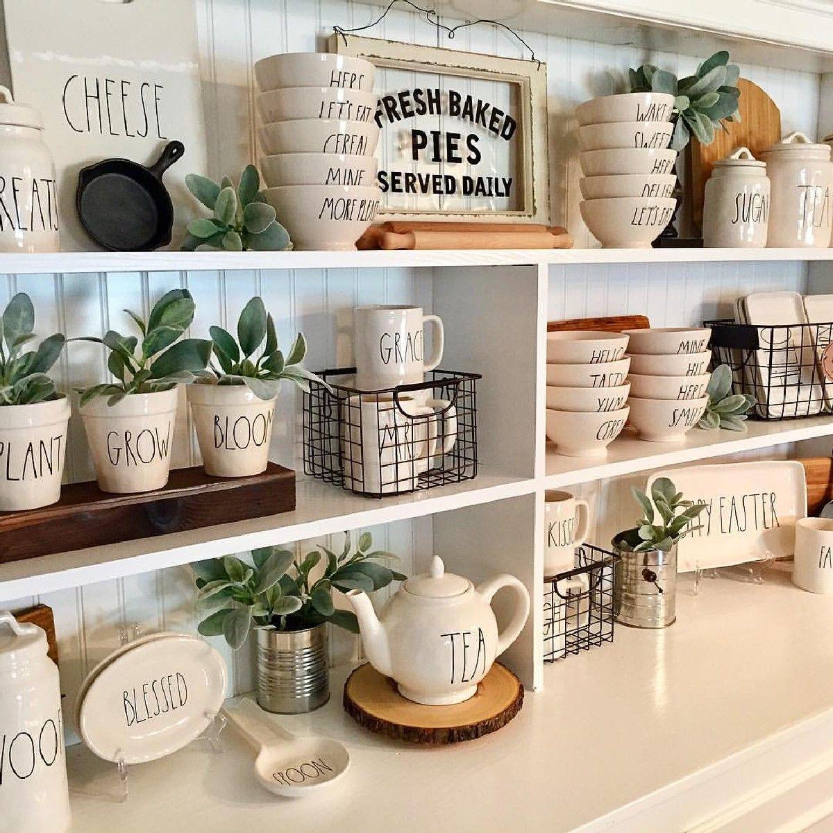 Amazing Diy Rae Dunn Display Ideas And Pictures 53 Read More Farmhouse Kitchen Decor Kitchen Decor Decor