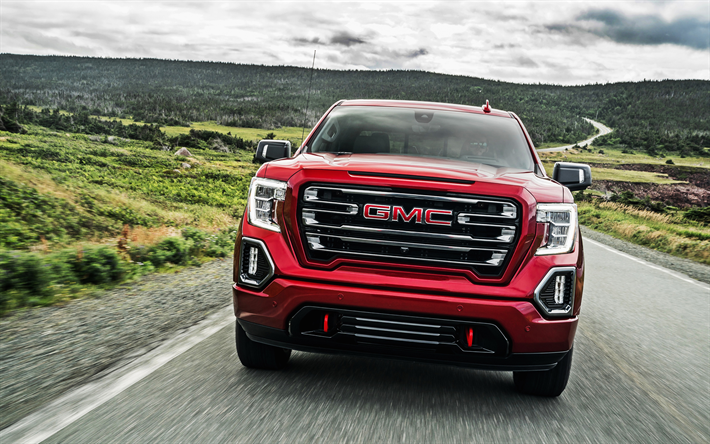 Download Wallpapers Gmc Sierra At4 2019 Front View New Red