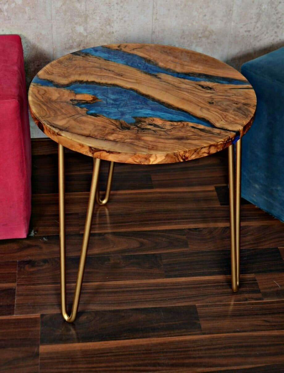Rustic Olive Wood And Resin Round Coffee Table 19 7 Wood Resin Table Diy Resin Wood Table Coffee Table [ 1207 x 920 Pixel ]