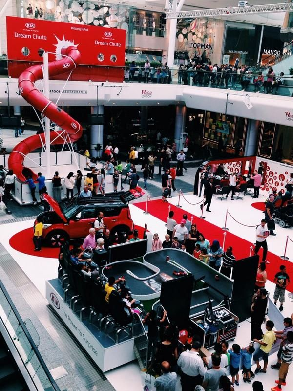 Kia Experiential stand - dream chute slide at Westfield ...