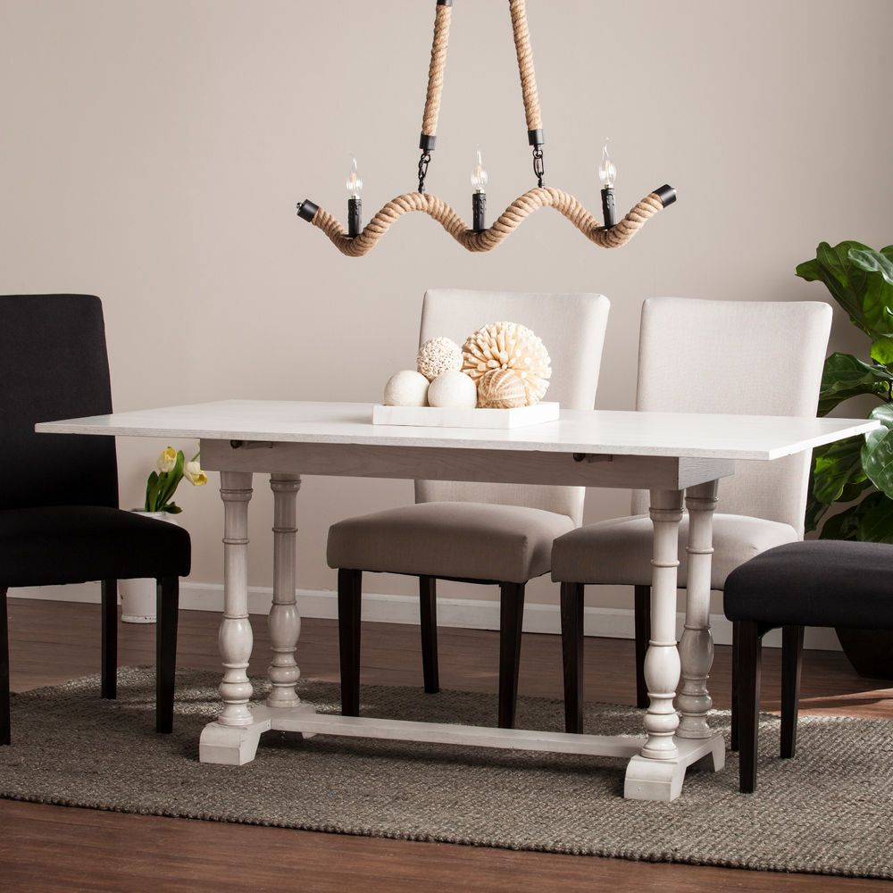 JDN49580 DISTRESSED WHITE FOLDING DINNING / CONSOLE TABLE