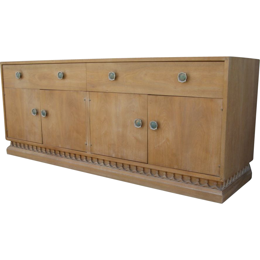 Drexel Mid Century Limed Bleached Walnut Credenza Sideboard