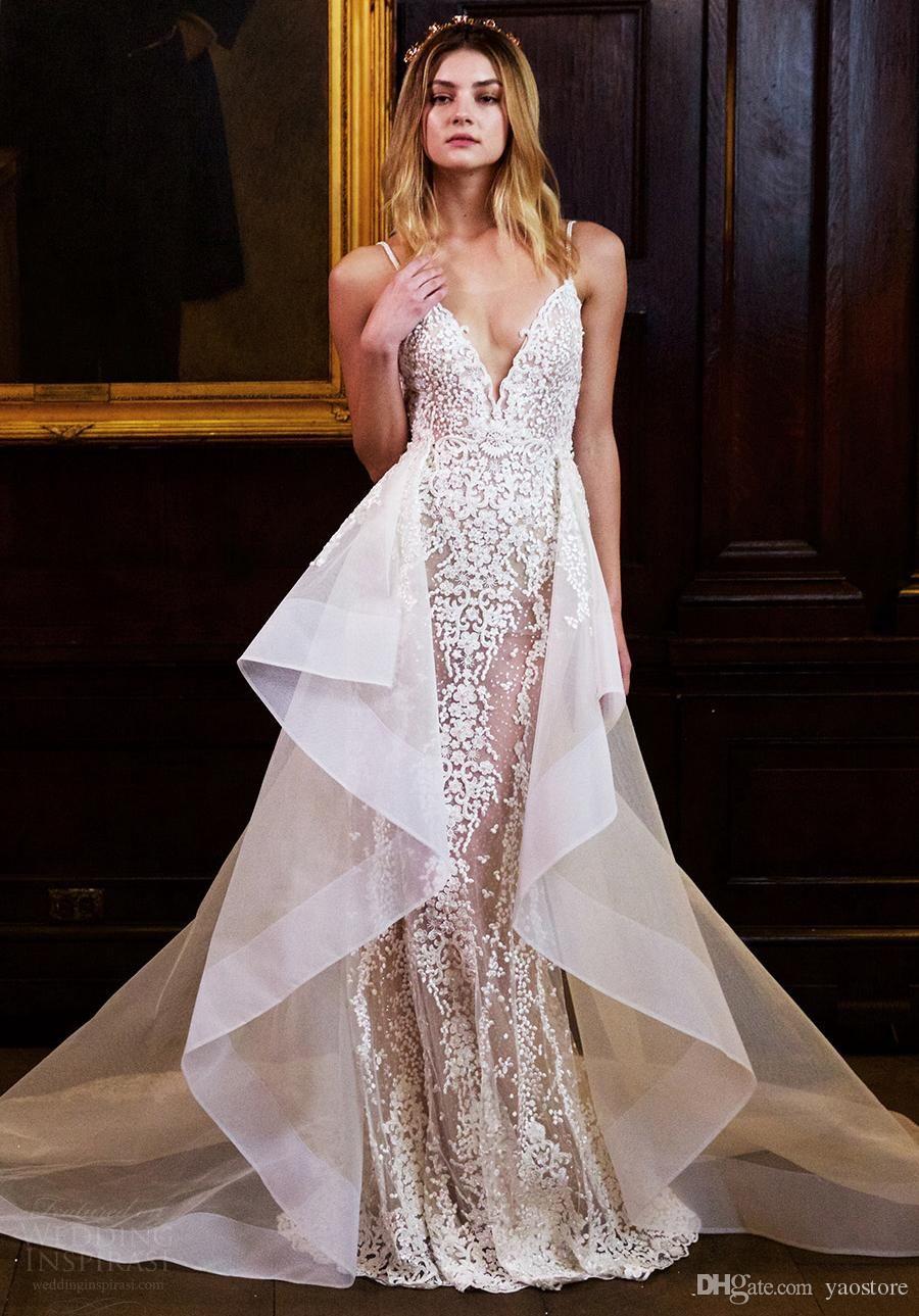 2d5505eb6300 2017 berta bridal wedding dresses detachable over skirt appliques beaded v  neck backless mermaid lace wedding gowns