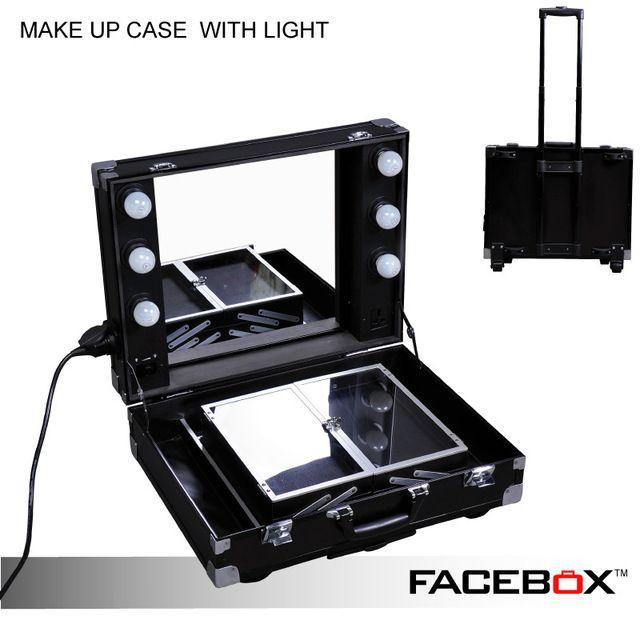 Online Shop Facebox Professional Makeup Artist Lighting Makeup Case With Mirror Portable Beauty Box Makeup Case Professional Makeup Artist Professional Makeup