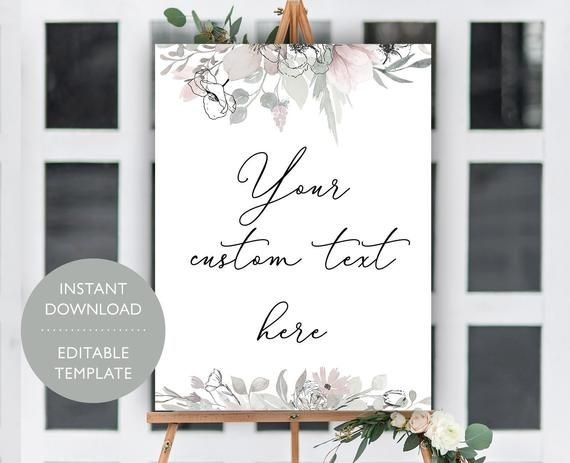 Custom Unlimited Printable Wedding Signs Template, Wedding Signage Sign, Personalized Editable Wedding Sign, Bridal Shower Sign, Baby Shower