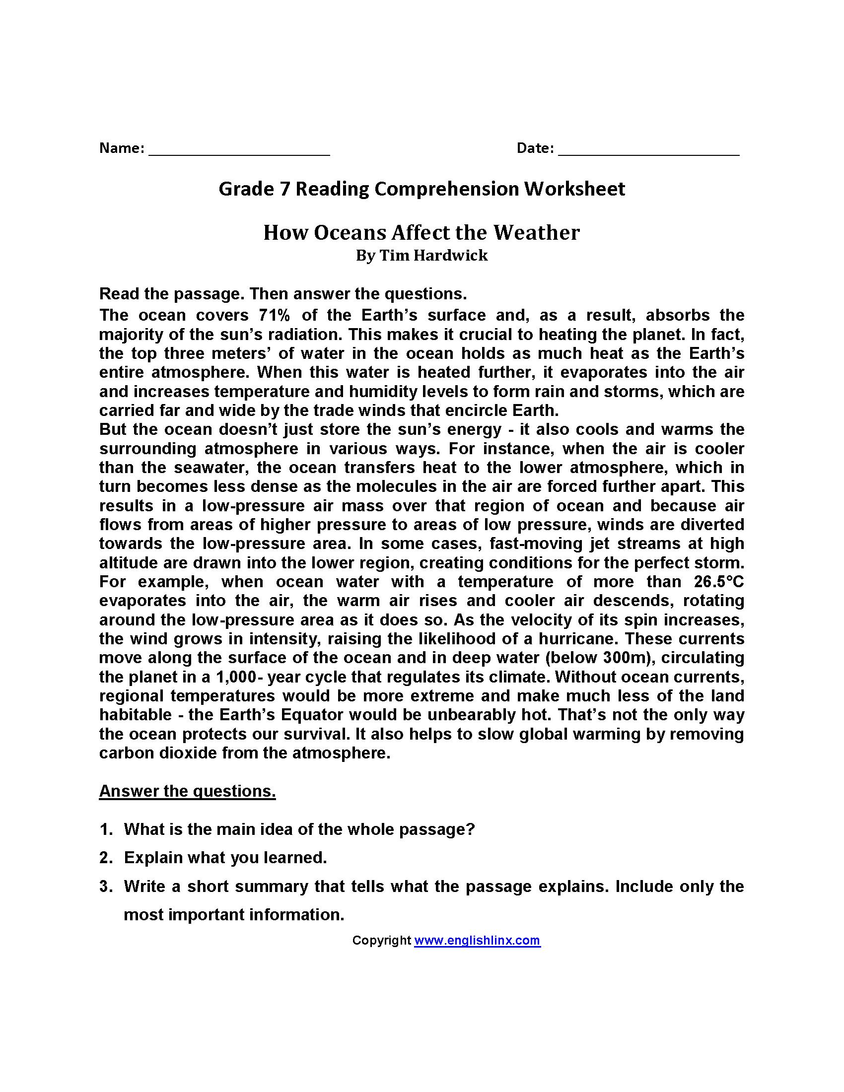 How Oceans Affect Weather\u003cbr\u003eSeventh Grade Reading Worksheets   Reading  worksheets [ 2200 x 1700 Pixel ]