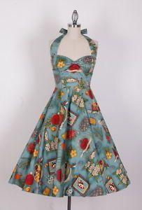 50s pinup rockabilly retro prom swing dress size 8-24