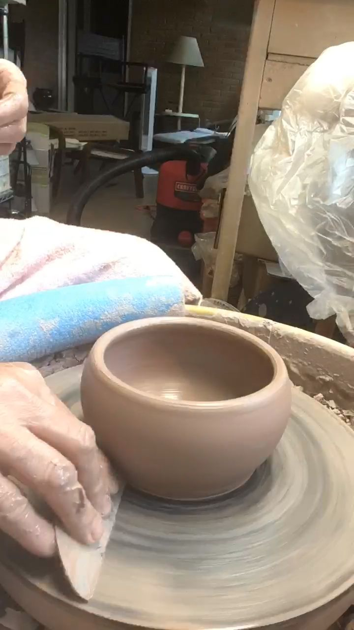 Working in the home studio on soup mugs.  #potterytechniques
