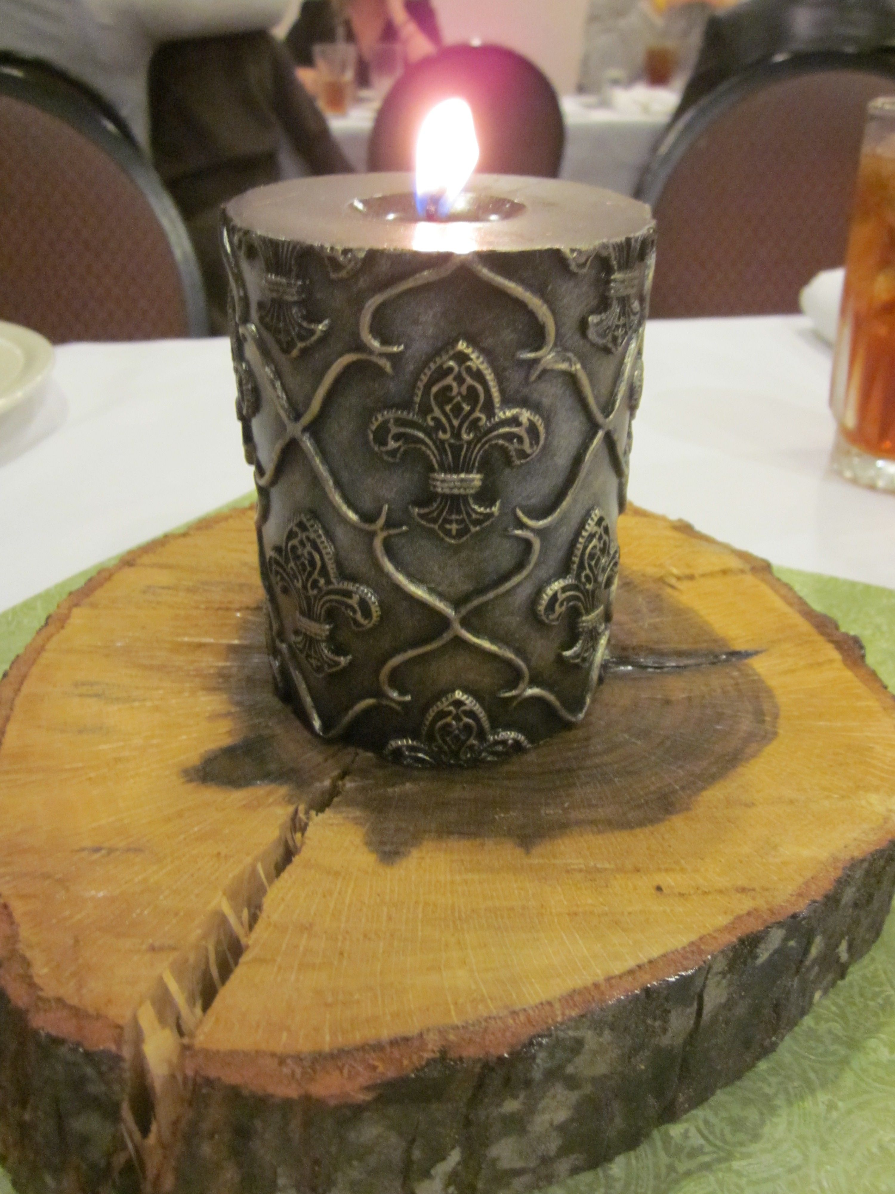 How to put scrapbook paper on wood - Also Used Candles And Put On Wood To Look Like Trees And Scrapbook Paper To