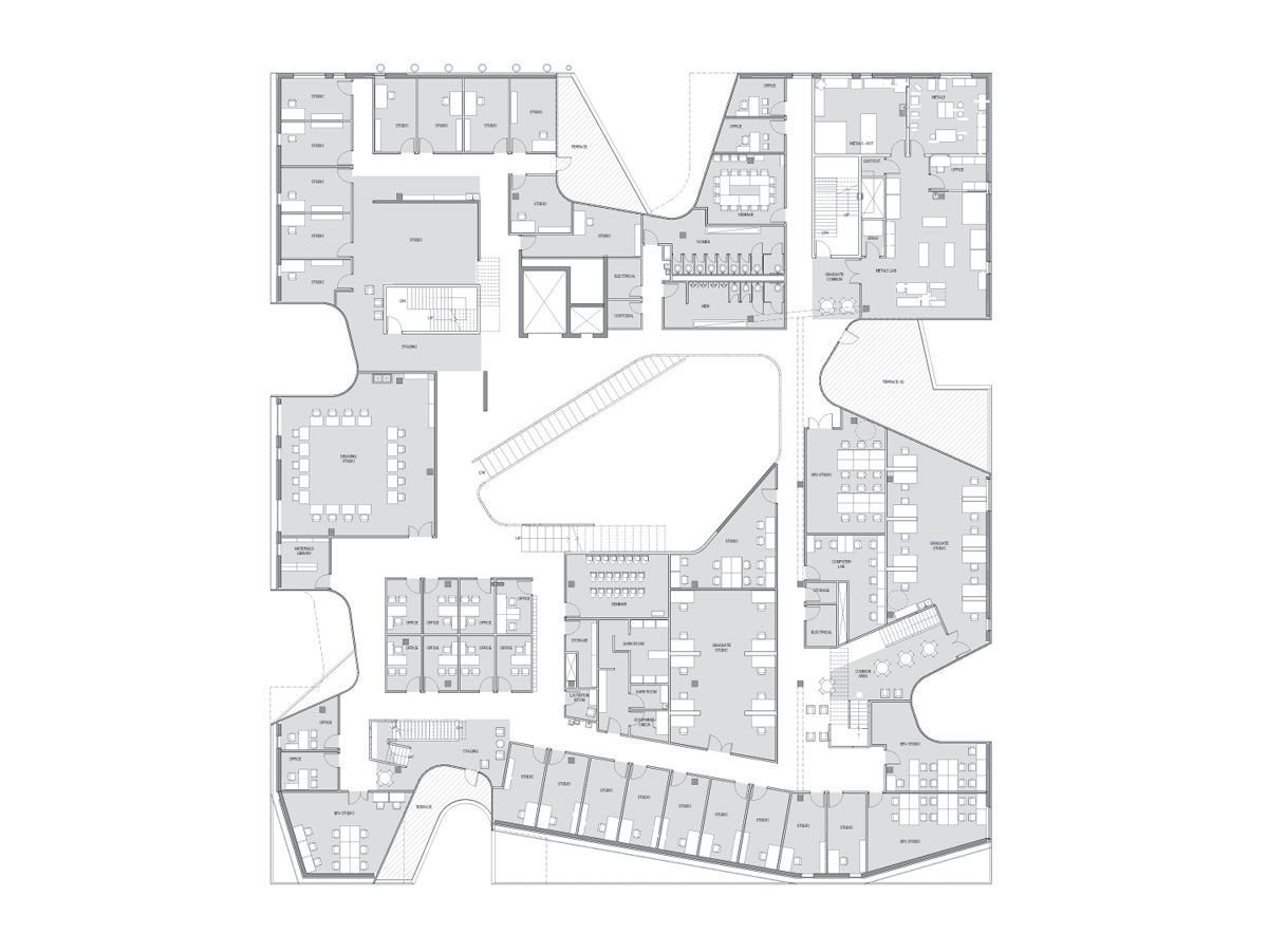 Steven Holl Architects Visual Arts Building At University Of Iowa Architectural Floor Plans Architect Office Building Plans