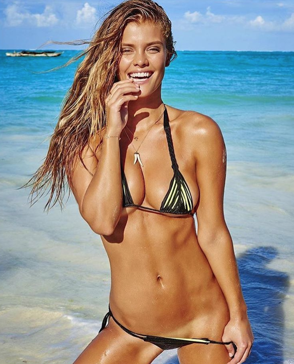 38f8d2c011 Supermodel Nina Agdal Dons A Shaving Cream Bikini Top And Posted The Sexy  Picture On Her Instagram Account