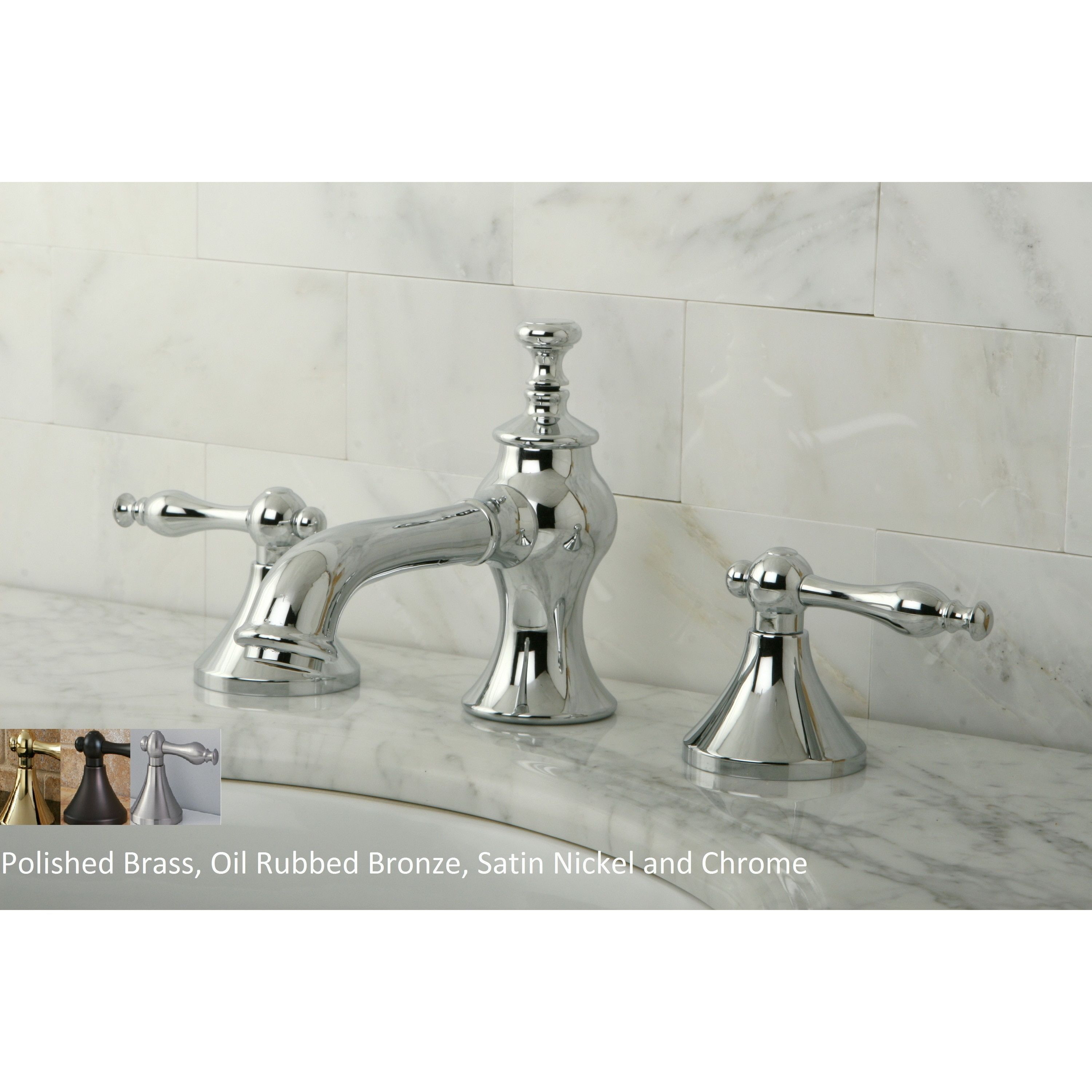 Nuovo Lever Widespread Bathroom Faucet Polished Chrome Grey