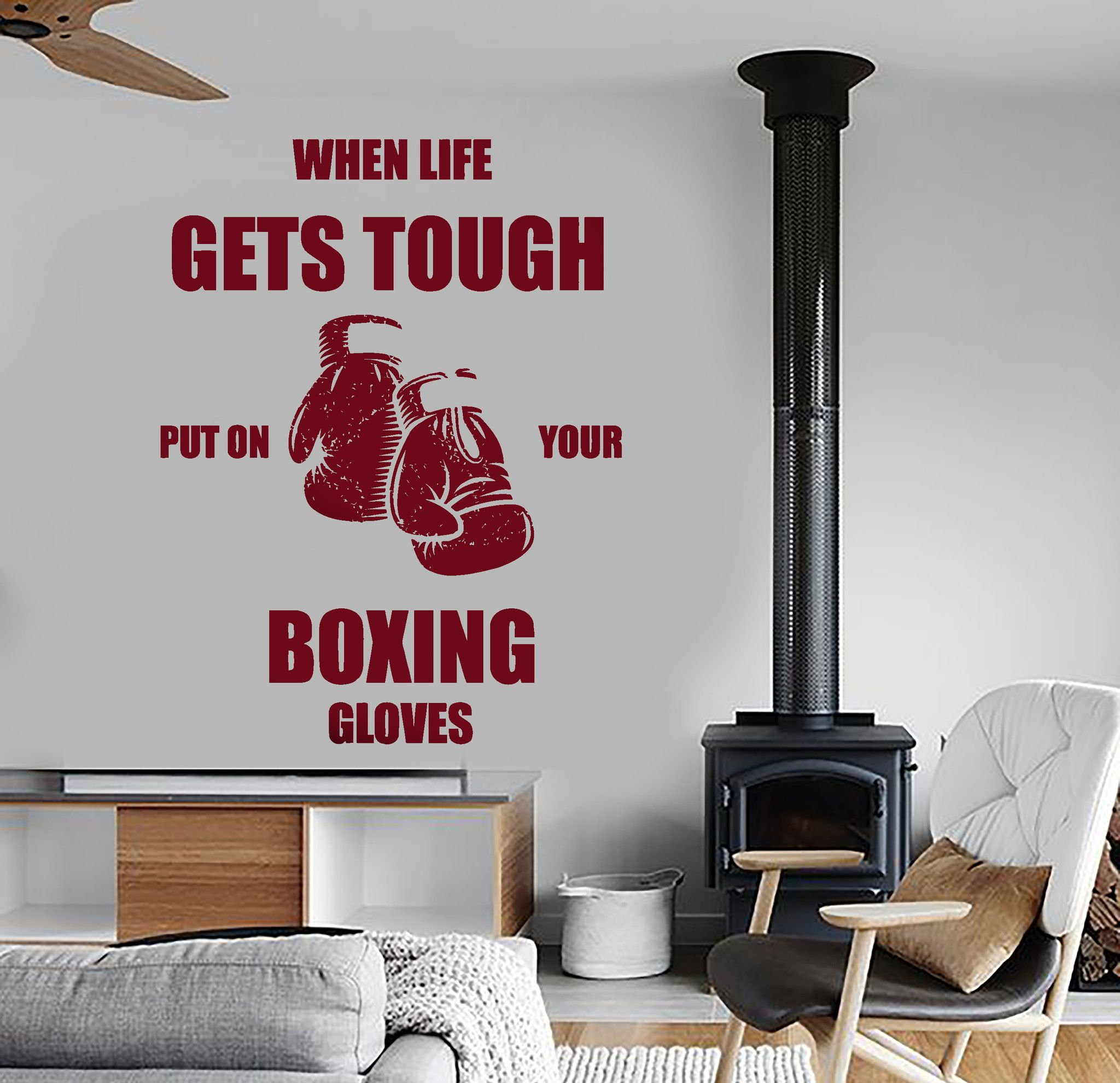Wall Vinyl Boxing Quotes When Life Gets Tough Put On Your Boxing - How to put a vinyl decal on a wall