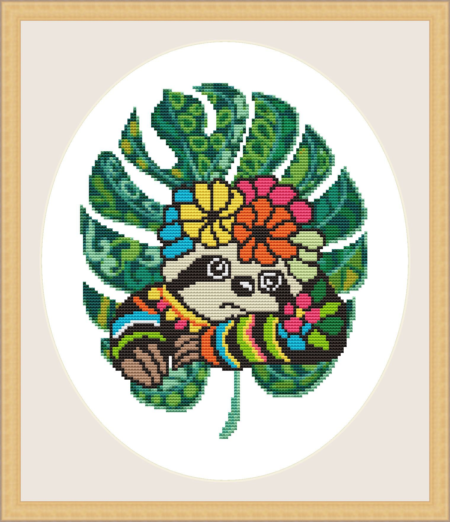 Sloth Cross Stitch Pattern Lazy Mandala Sloth Tropical Leaf