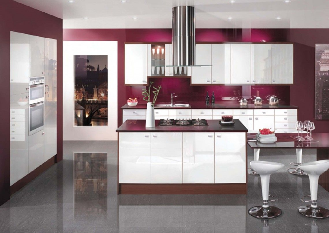 Enchanting Maroon Kitchen With White Gloosy Modern Kitchen Cabinet ...