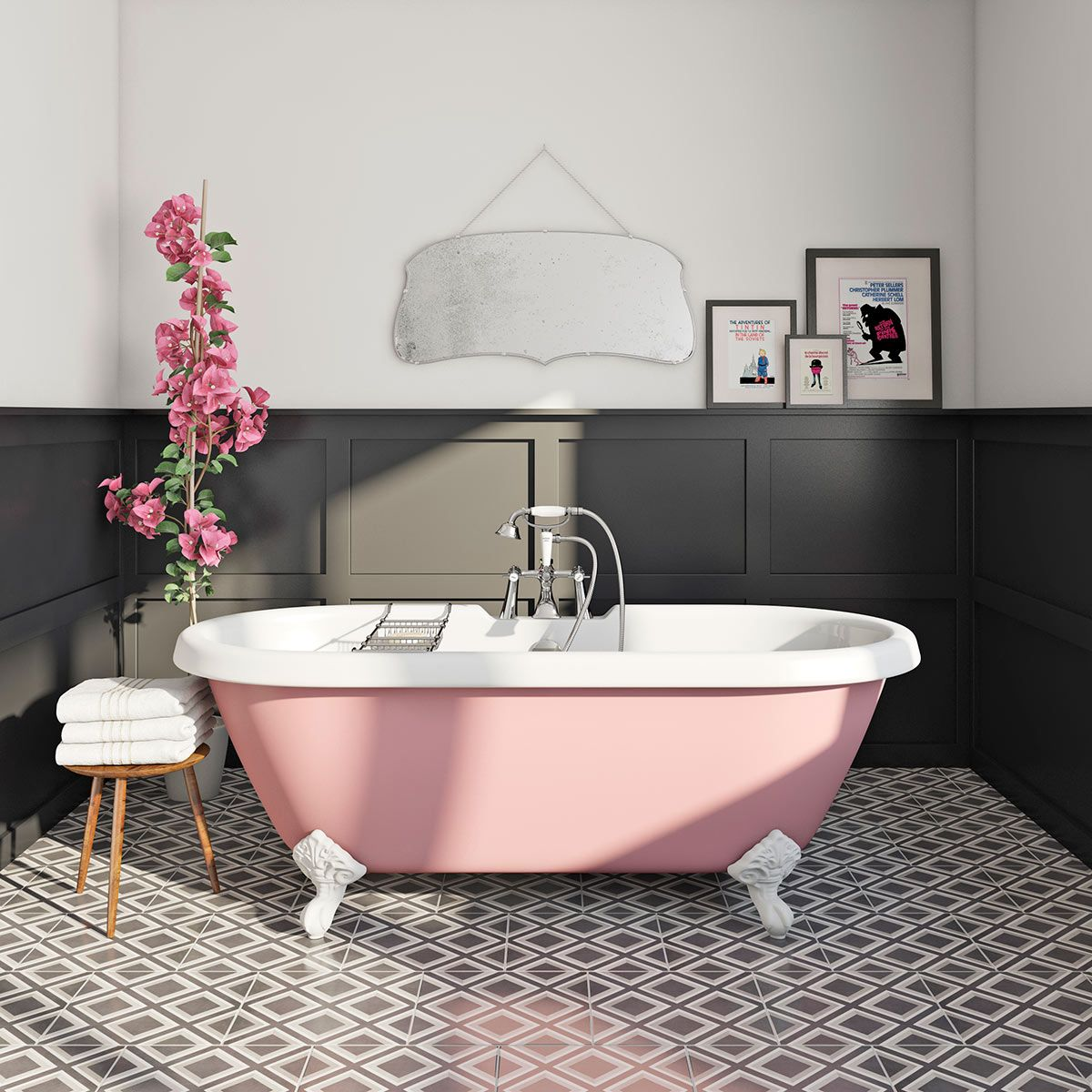 In the bathroom while taking a shower or a well deserved bubble bath - The Bath Co Victoria Rose Coloured Bath With Hampshire Shower Bath Mixer Tap