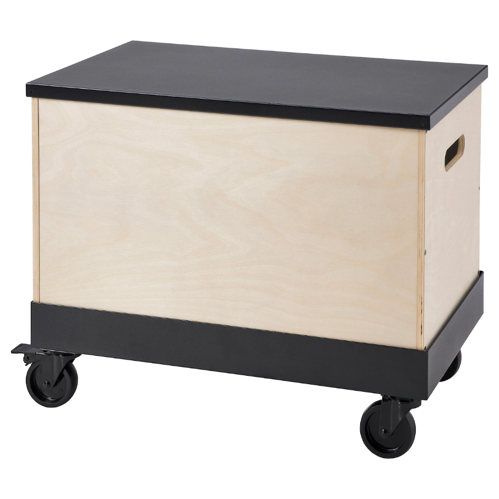 Ikea Ravaror Coffee Side Table On Casters Birch Plywood Black Suitable Throughout The Home To Use E G As A Coffee Table Ikea Birch Plywood Table Storage [ 1000 x 1000 Pixel ]