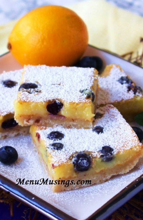 Barras de Mirtilo e Limão (Blueberry Lemon Bars)