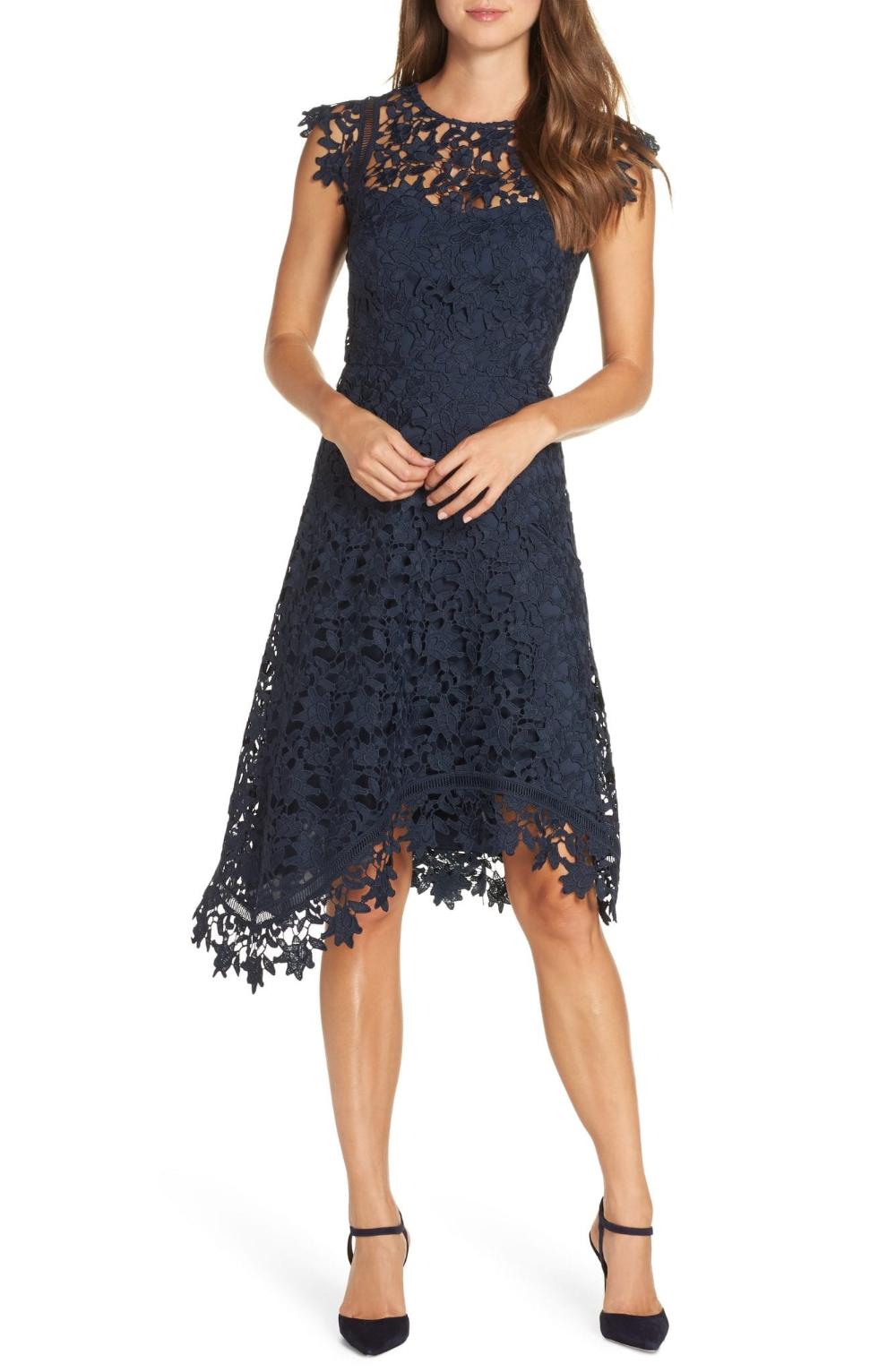 Eliza J Asymmetrical Lace Fit Flare Midi Dress We Select Dresses Fall Cocktail Dress Flare Dress Fit Flare Dress [ 1532 x 1000 Pixel ]