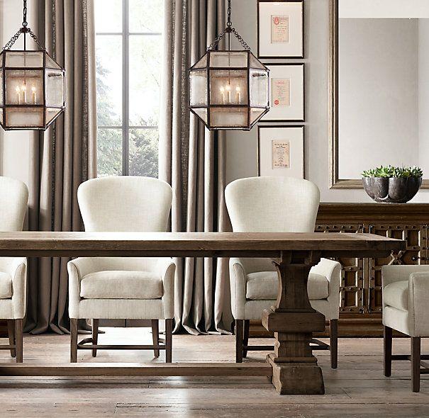 Dining Area Restoration Hardware Reclaimed Russian Oak Baluster Rectangular Extension Table