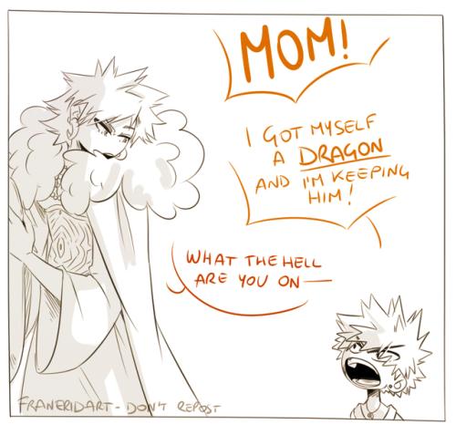 Bakugo brings home a dragon part 1 | Bakugo, Bakugo's mom