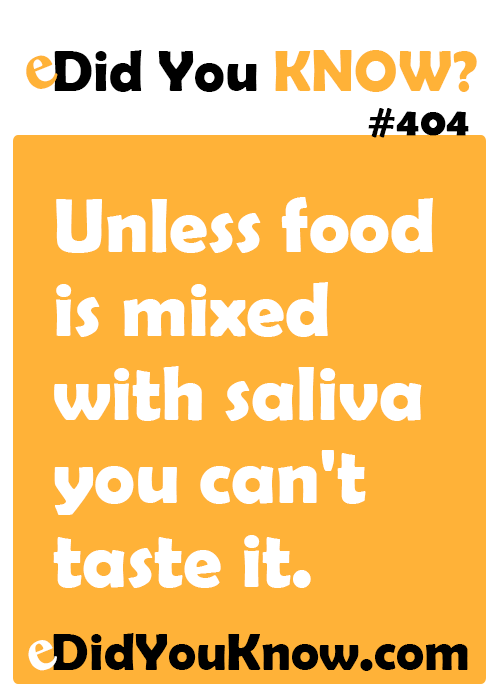 Unless Food Is Mixed With Saliva You Can T Taste It