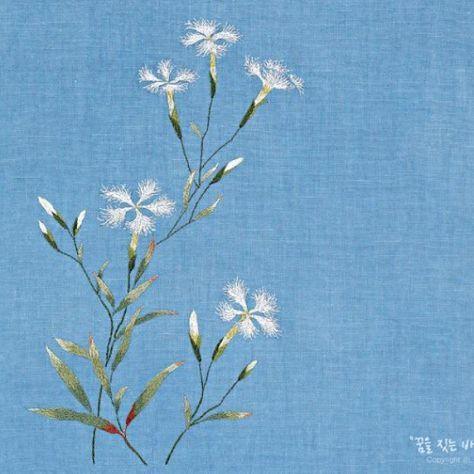 #야생화자수 #술패랭이 #꿈소 #꿈을짓는바느질공작소 #embroidery #dianthussuperbus