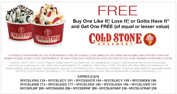 photograph regarding Cold Stone Printable Coupon referred to as Pinned February 10th: Minute ice product free of charge at #Chilly Stone