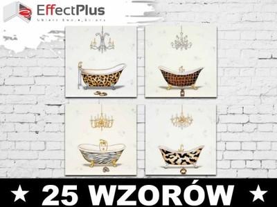 4 Obrazy 40x40 Do Lazienki Wanny Retro Vintage 5576916207 Oficjalne Archiwum Allegro Decorative Plates Decor Home Decor